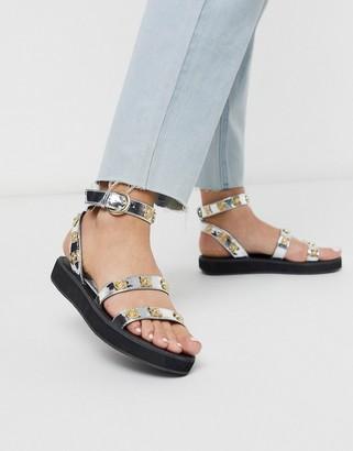 ASOS DESIGN Flavour western sandal in silver