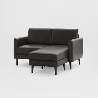 "west elm Burrow Nomad Leather Loveseat Reversible Chaise Sectional (61"")"