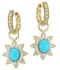Jude Frances Women's Provence 18K Yellow Gold, Turquoise & Diamond Pavé Halo Sunburst Earring Charms