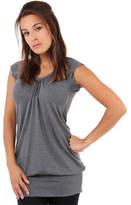 Clothing Women short-sleeved t-shirts Krisp Long Line Summer Casual Top Grey Long Line Summer Casual Top Grey