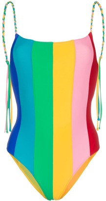 Paper London Backless Rainbow Swimsuit