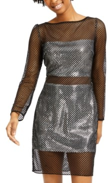 SHO Mesh-Overlay Metallic Bodycon Dress