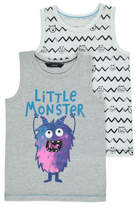 George 2 Pack Assorted Monster Print Vest Tops