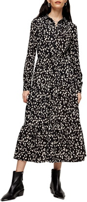 Topshop Spot Tiered Long Sleeve Midi Shirtdress