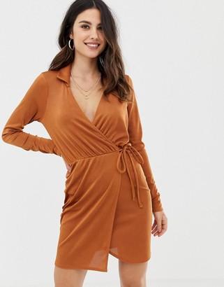 Asos Design DESIGN slinky wrap mini dress-Brown