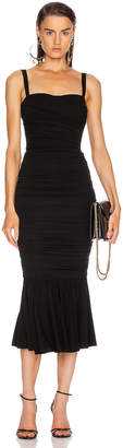 Dolce & Gabbana Ruched Flounce Dress in Black | FWRD