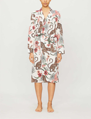 Desmond & Dempsey Soleia jungle-print organic cotton dressing gown
