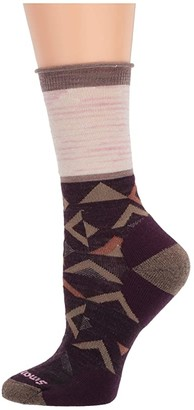 Smartwool Non-Binding Pressure Free Triangle Crew (Bordeaux) Women's Crew Cut Socks Shoes