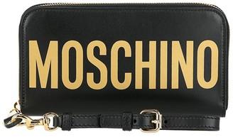Moschino Logo Leather Wristlet Wallet