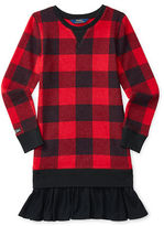 Ralph Lauren Plaid Ruffled-Hem Fleece Dress