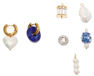 Timeless Pearly Mismatched 24kt Gold-plated Earrings And Charm Set - Blue Multi