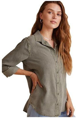 Bella Dahl Shirt Tail Button Down Shirt in Tencera (Soft Army) Women's Clothing