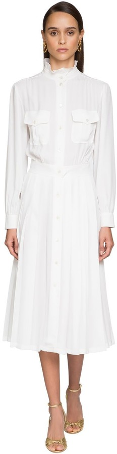 Alberta Ferretti Pleated Crepe Shirt Dress