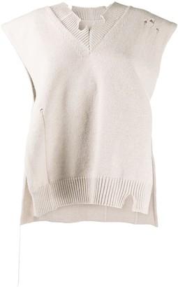 Maison Margiela Distressed V-Neck Knitted Vest