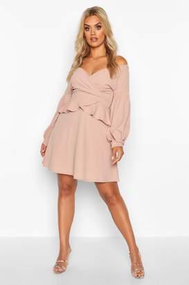 boohoo Plus Bardot Peplum Skater Dress