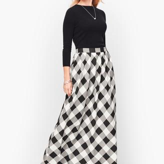 Talbots Buffalo Check Pleated Maxi Skirt
