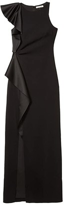 Halston Asymmetric Flounce Gown (Black) Women's Clothing