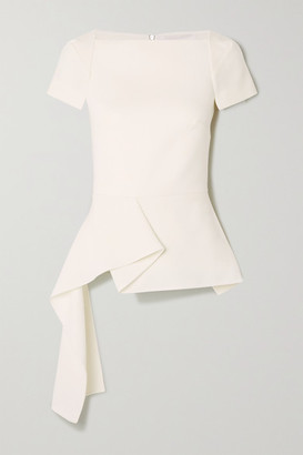 Roland Mouret Newhall Draped Wool-crepe Peplum Top - White