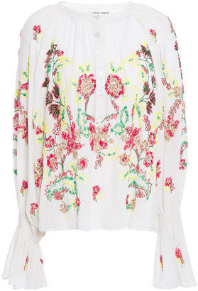 Antik Batik Gathered Embellished Cotton-voile Blouse