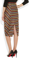 L'Wren Scott Striped canvas and silk pencil skirt