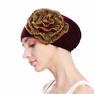 Pingtr Retro Turban Hat with Big Flower Ladies