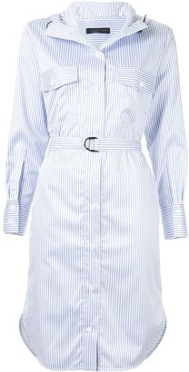 Eudon Choi Hooded Stripe Shirt Dress