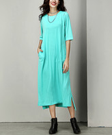 Reborn Collection Women's Maxi Dresses Turquoise - Turquoise Split Hem Maxi Dress - Women