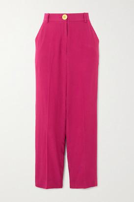 Bouguessa Cropped Crepe Straight-leg Pants - Magenta