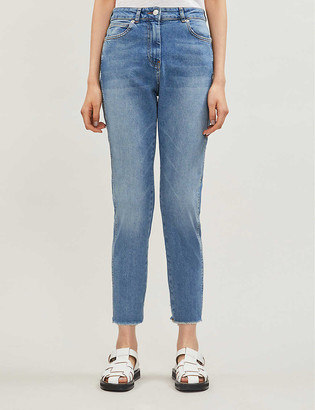 Whistles Cropped raw-hem straight-leg faded high-rise jeans