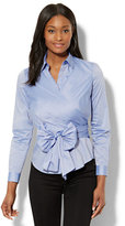 New York & Co. 7th Avenue - Madison Stretch Shirt - Wrap-Front - Blue