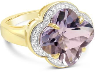14K Gold 5.70 cttw Pink Amethyst & White Topaz Ring
