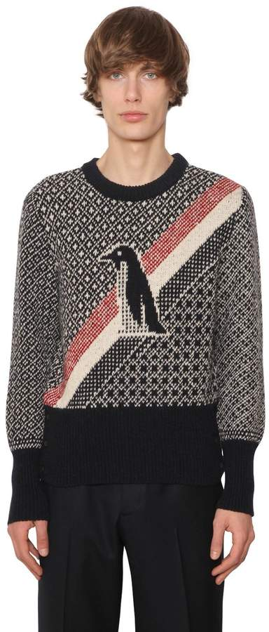 Thom Browne Penguin Jacquard Wool & Mohair Sweater