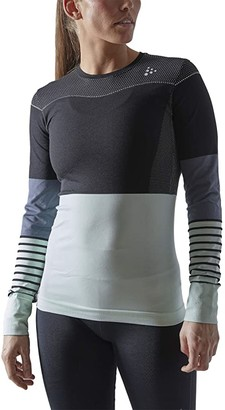 Craft Fuseknit Comfort Blocked Round Neck Long Sleeve (Black/Deco) Women's Clothing