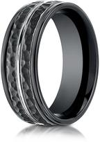 Ice Cobalt 8mm Comfort-Fit Ring with Hammered Finish and White Center Cut