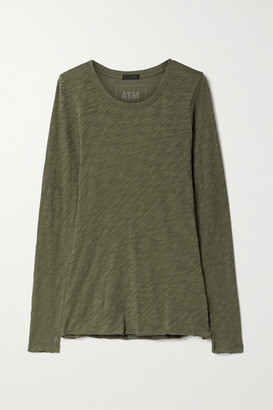 ATM Anthony Thomas Melillo Distressed Slub Cotton-jersey Top - Army green