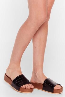 Nasty Gal Womens Croc By Sometime Faux Leather Platform Sandals - Black