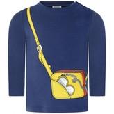 Moschino Girls Navy Bag Print Jersey Top
