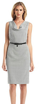 Calvin Klein Sleeveless Cowlneck Belted Dress