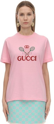 Gucci RACKET LOGO COTTON JERSEY T-SHIRT