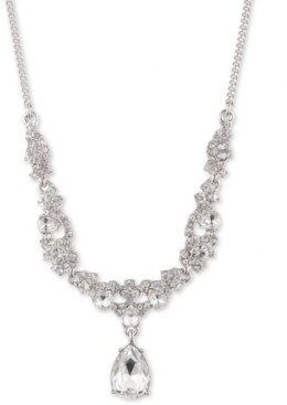 """Givenchy Silver-Tone Crystal Cluster Lariat Necklace, 16"""" + 3"""" extender"""