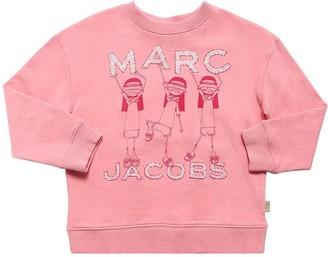 Little Marc Jacobs Glittered Logo Cotton Sweatshirt