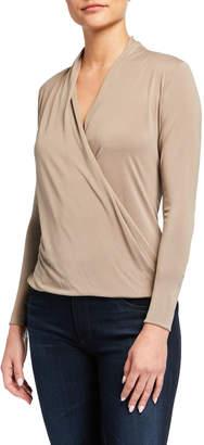 Veronica M Wholesale Surplice Faux-Wrap Long-Sleeve Top