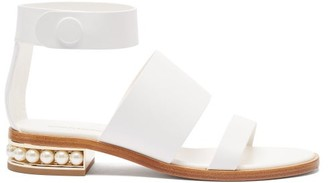 Nicholas Kirkwood Casati Faux-pearl Heel Leather Sandals - White