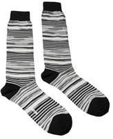 Missoni Gm00cmu4658 0003 White/black Knee Length Socks.
