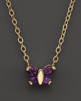 Bloomingdale's Amethyst Butterfly Pendant Necklace in 14K Yellow Gold, 16""