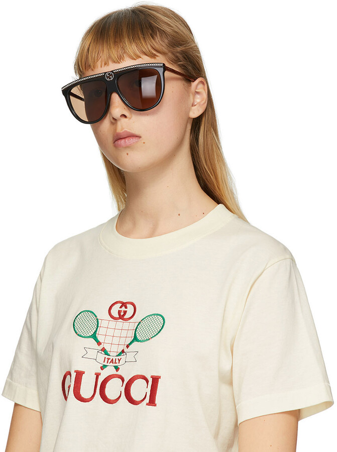 Thumbnail for your product : Gucci Black Flat Top Sunglasses