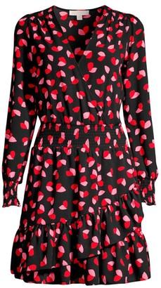 MICHAEL Michael Kors Petal-Print Ruffle Wrap Dress