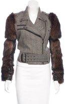 Thomas Wylde Fox Fur-Trimmed Herringbone Jacket