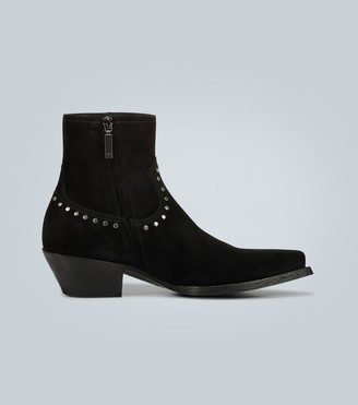 Saint Laurent Suede studded ankle boots