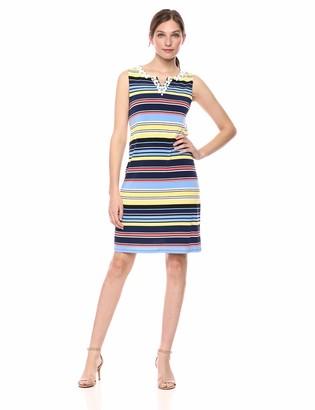 Rafaella Women's Striped Sleeveless Shift Dress